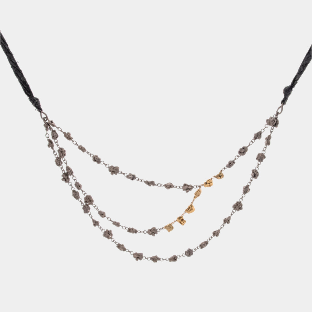 Salmon Leather and Sterling Silver Nugget Chain with Gold Nuggets and Diamonds