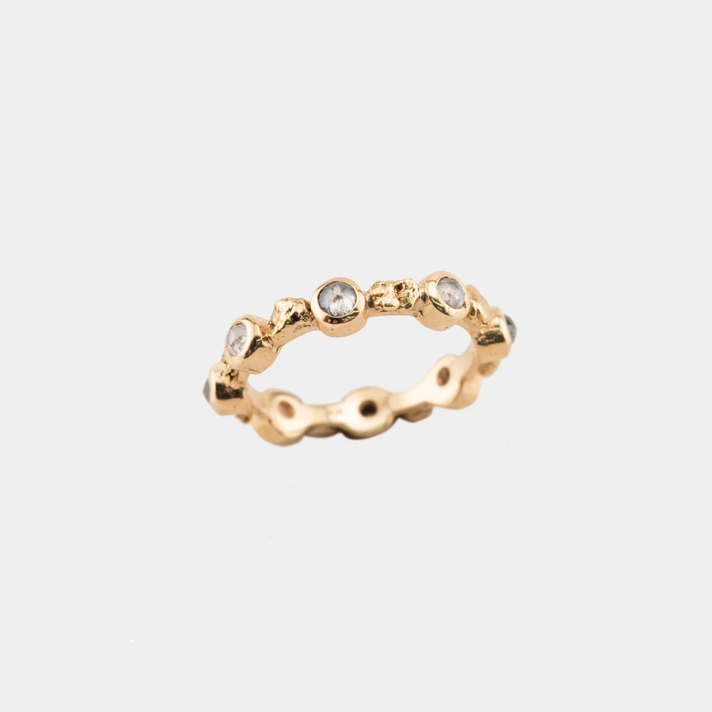 Alternating Gold and Diamond Ring