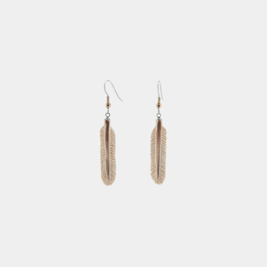 Mastodon Ivory Feather Earrings