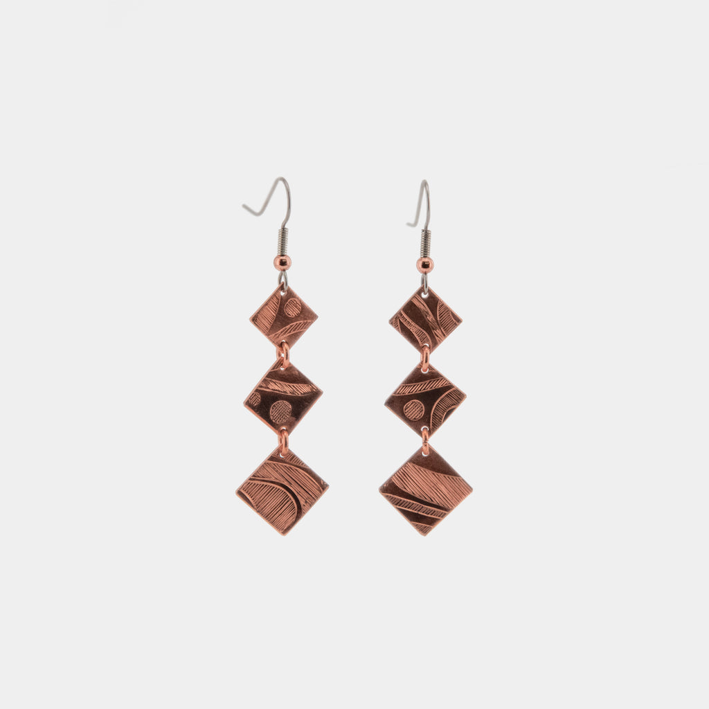 Copper Triple Square Earrings