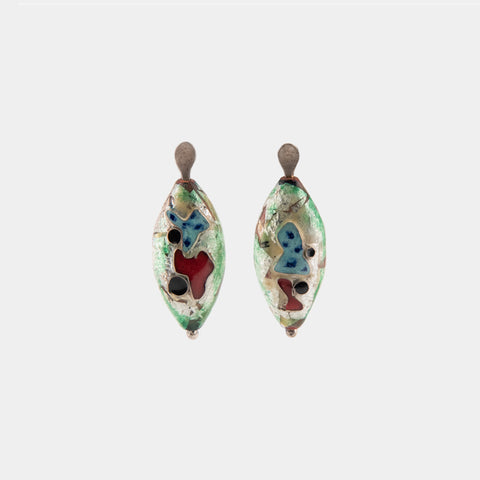 Enamel Green Earrings by Rebecca Voris