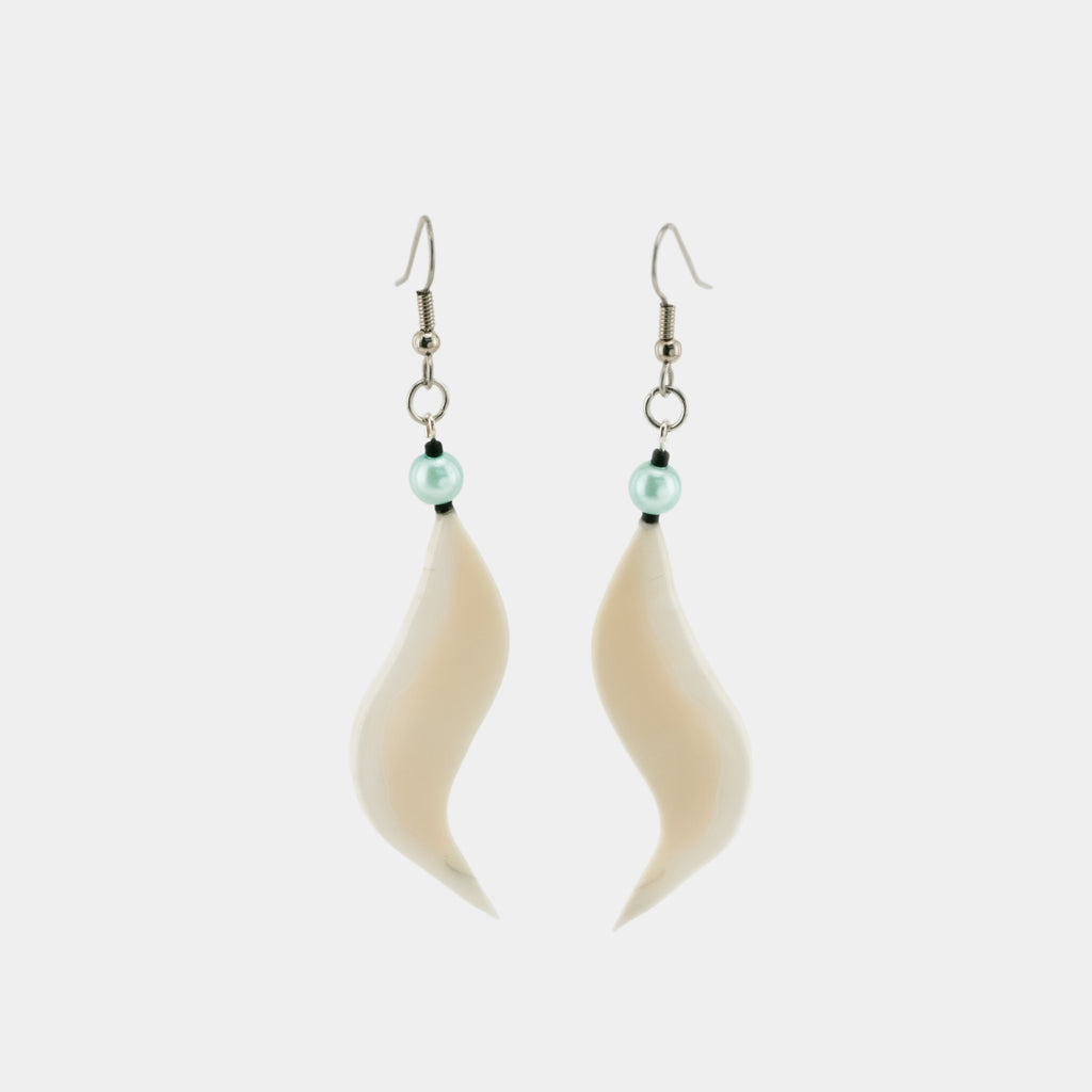 Ivory Earrings - Wave and Blue Bead