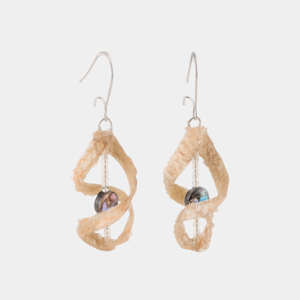 Single Salmon Skin Swirl Earrings