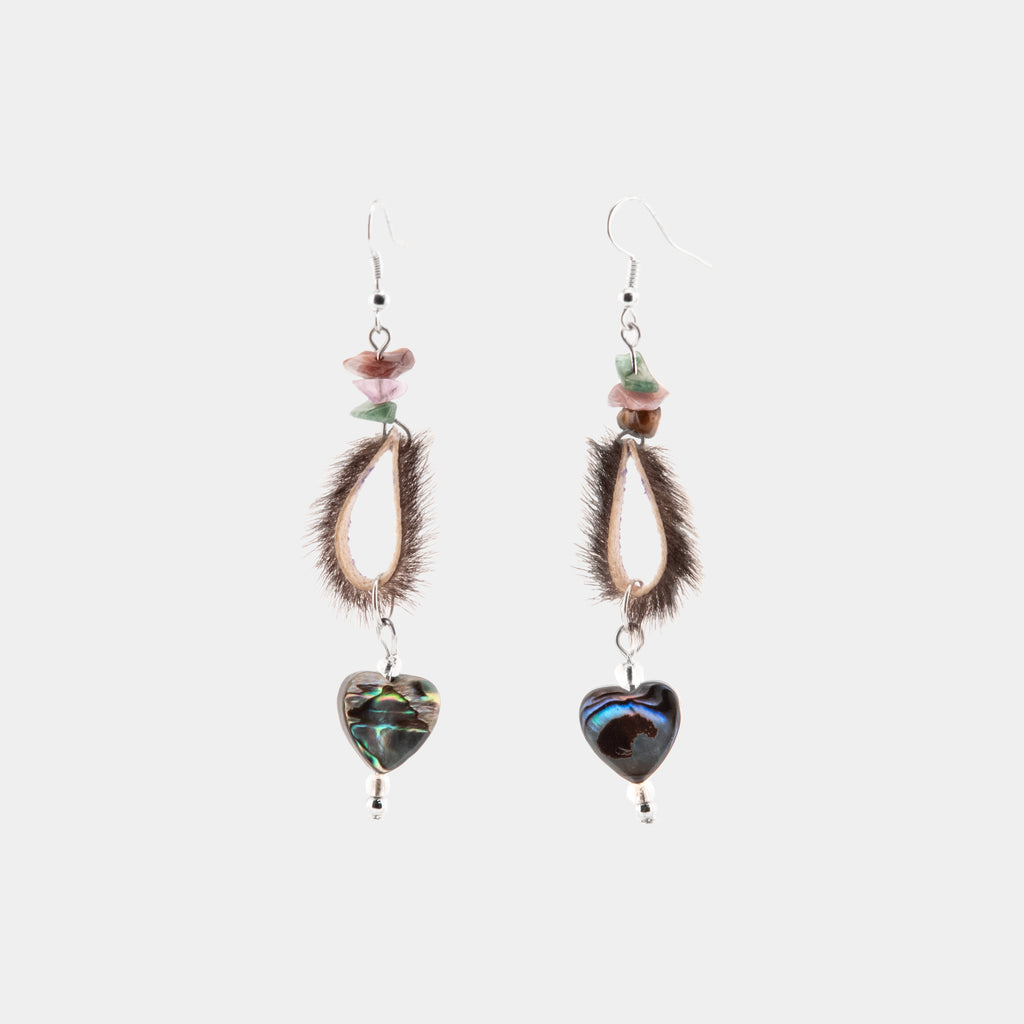 Abalone Heart And Seal Fur Earrings