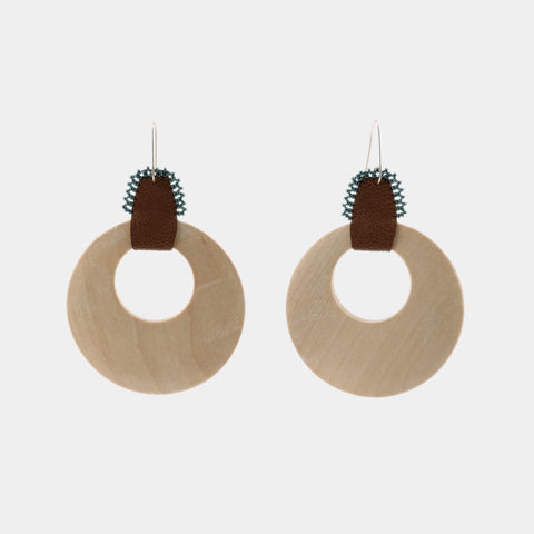 ReRe Earrings - Wooden Hoops - Navy Bead