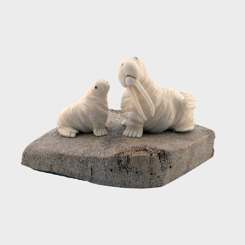 Ivory Walrus and Pup on Whale Vertebrae
