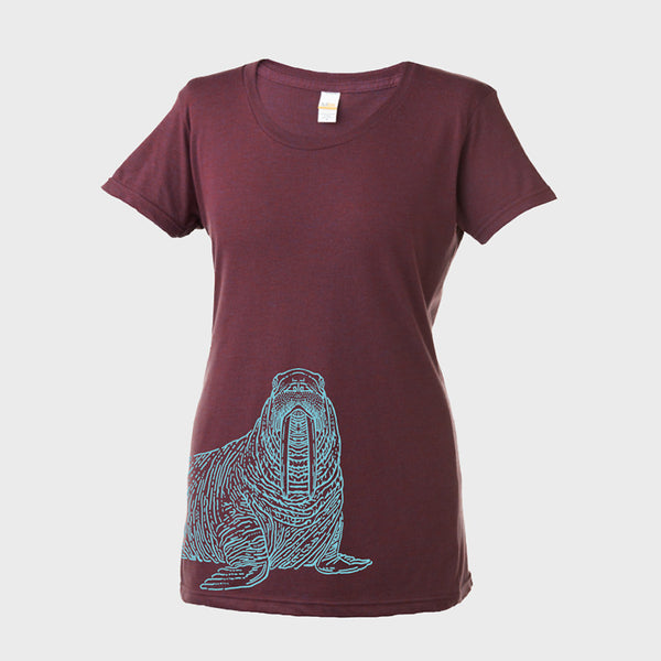 T-Shirt: Walrus, Women's, Berry