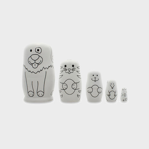 "4.75"" Set of 5 Unpainted Wooden Animal Nesting Dolls, With Paint"