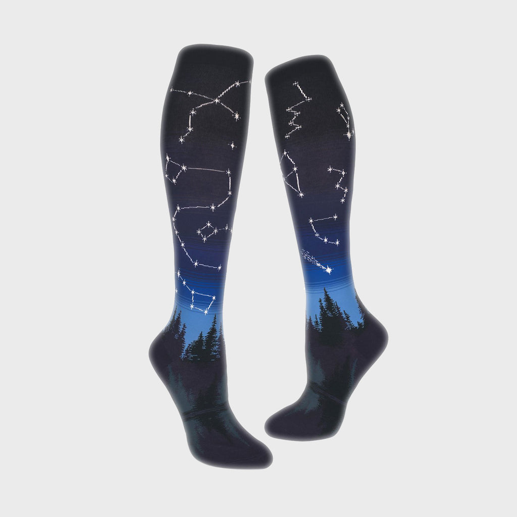 Women Knee Socks - Constellations - Into the Blue