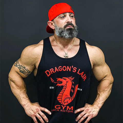 Black and Red Dragons Lair Gym Tank Top