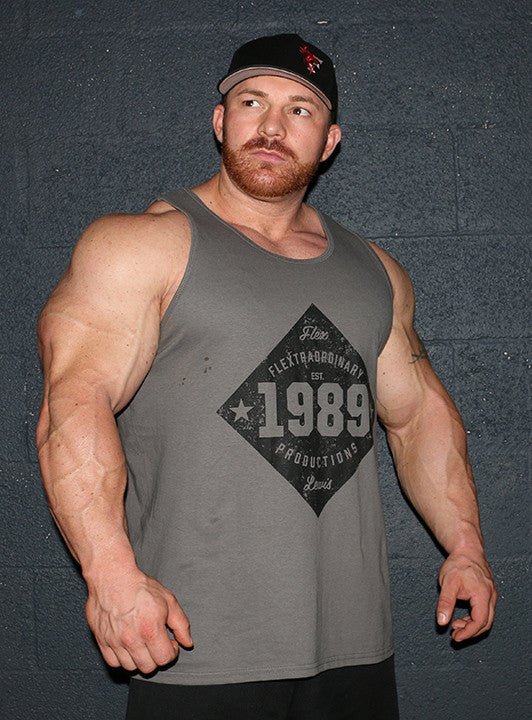 Flextraordinary Productions 1989 Vintage Men's Tank, Olive Gray