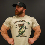 Tan Dragons Lair Gym Shirt with Green Camo