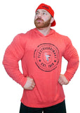 FLEXTRAORDINARY EST. 1989 Red Cotton Hooded Long Sleeve, Black/Grey