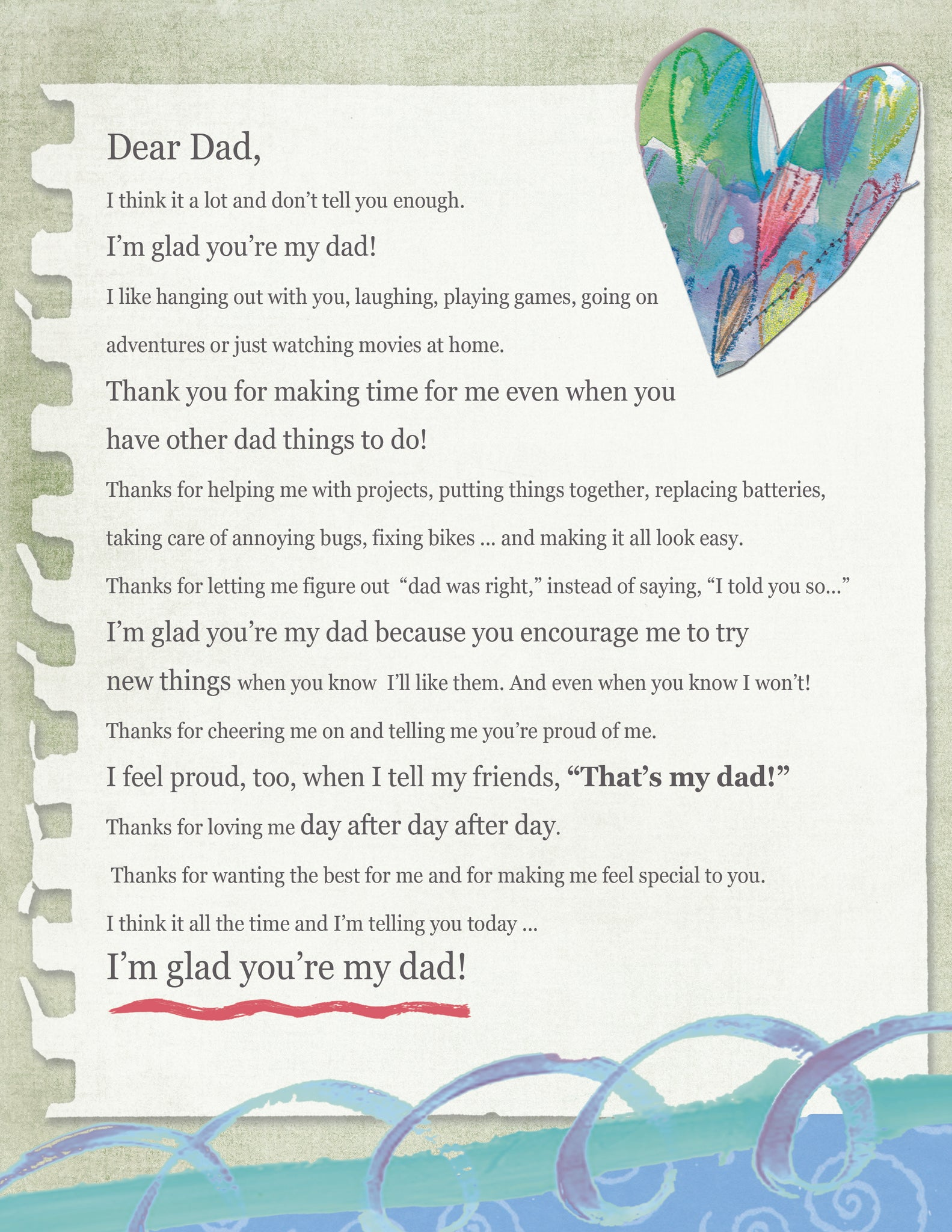 Dear Dad Letter (Digital Download)