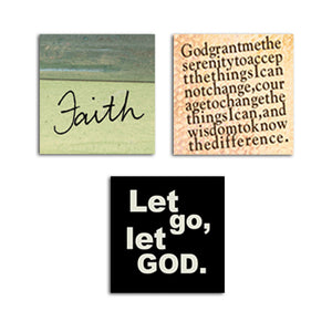 Faith • Serenity Prayer • Let Go Let God Magnet Set