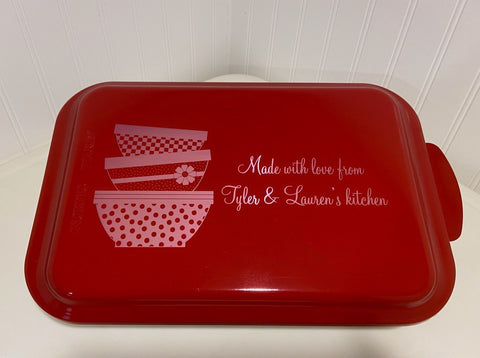 Personalized engraved Nordicware aluminum cake or brownie pan -- a perfect gift for mothers, grandmothers, hostesses, and weddings.  personalizeit.org