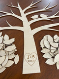 Custom cut and engraved wooden tree for weddings, anniversaries, retirements, etc.  Wooden tree wedding guestbook alternative.  DIY wedding tree kit  personalizeit.org