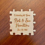 Anniversary puzzle guestbook, custom engraved wooden puzzle to sign