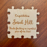 Retirement, achievement, appreciation custom engraved wooden puzzle to sign and celebrate.  Great for coaches, teams, and companies!