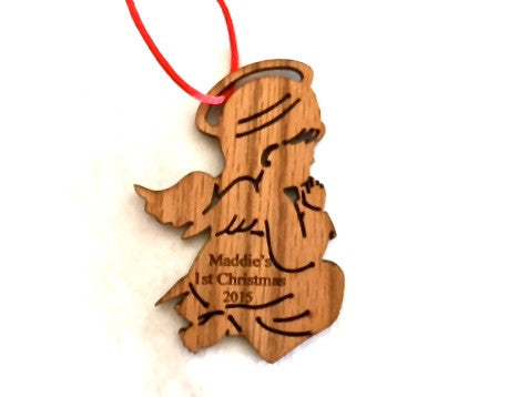 Personalized Baby's First Christmas Ornament~Wooden Little Angel