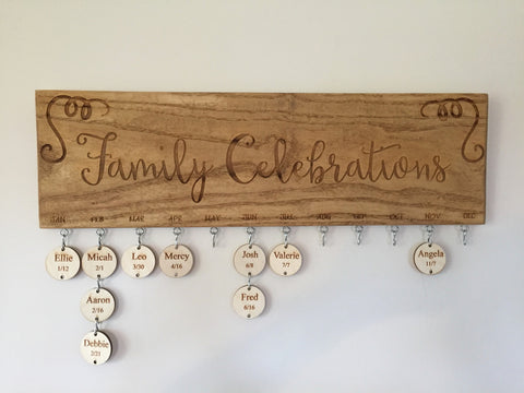 Family Celebrations Wooden Sign