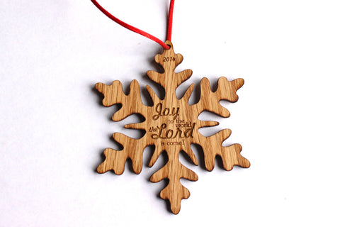 Joy to the World Wooden Snowflake Ornament