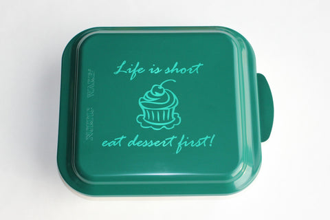Personalized Nordicware Cake Pan--9x9 Graphic with Text Above & Below + Name