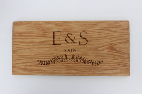 Engraved Cutting Boards~Initials with Laurel Design
