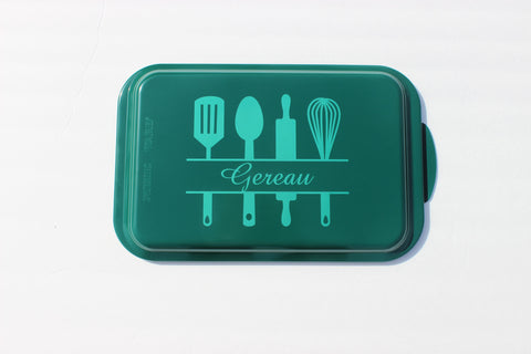 Personalized Nordicware Aluminum Cake Pan  ~Split Utensils and Name~