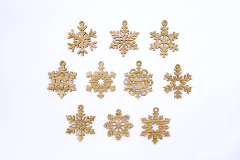 Wooden Snowflake Ornaments~Variety Set of 10