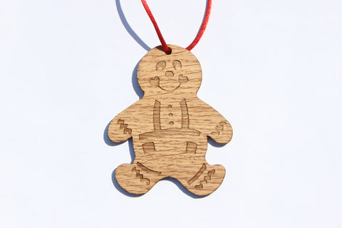 Gingerbread Boy Wooden Ornament