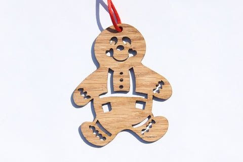 Cut Gingerbread Boy Wooden Ornament