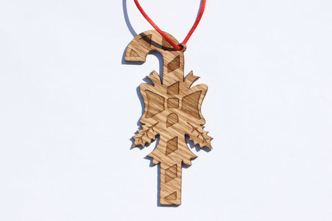 Candy Cane 2 Wooden Ornament