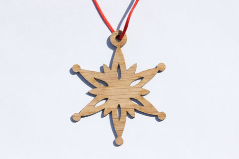 Snowflake 10 Wooden Ornament