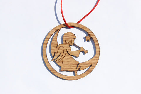 Trumpeting Angel Wooden Ornament