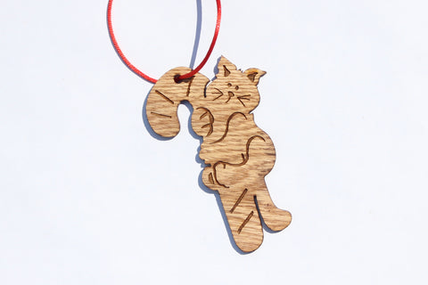 Christmas Kitten Wooden Ornament