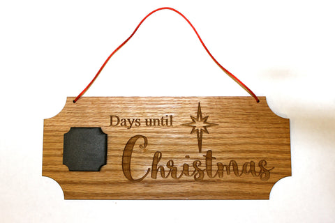 Days Until Christmas Chalkboard Hanging Sign