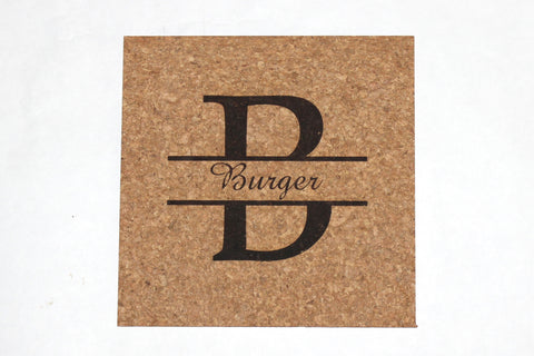 Personalized Cork Trivet~Split Monogram