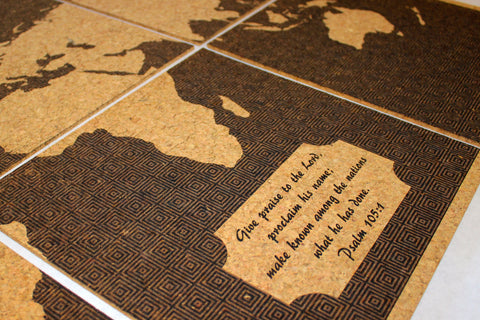 Custom Engraved Cork Map of the World
