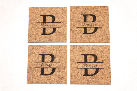 Personalized Cork Coaster Set~Split Monogram