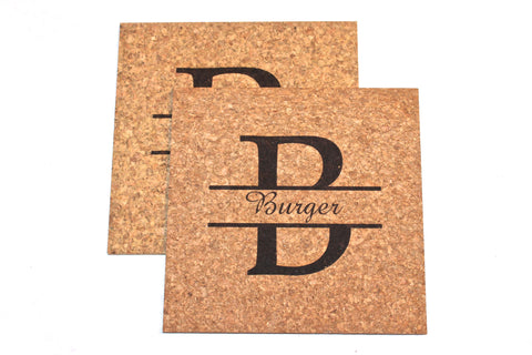 Personalized Cork Trivet Set~Split Monogram (Set of 2)