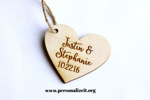 Save the Date Wooden Heart Tag www.personalizeit.org