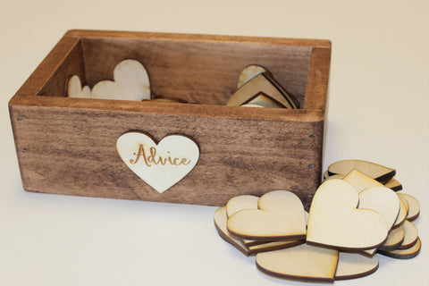 Custom Engraved Wooden Heart Guestbook Alternative