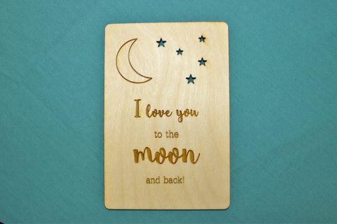 Love You to the Moon ~ Wooden Postcard