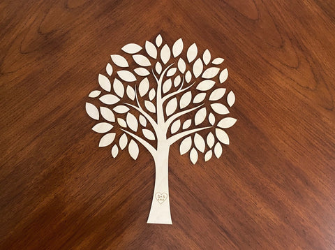 Custom cut and engraved wedding tree DIY kit for weddings, anniversaries, retirements and other celebrations.  Excellent wooden guestbook alternative!  personlizeit.org