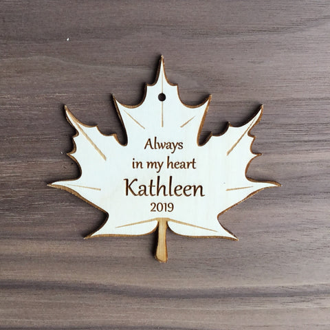 Always in My Heart Personalized Memorial Wooden Leaf Ornament