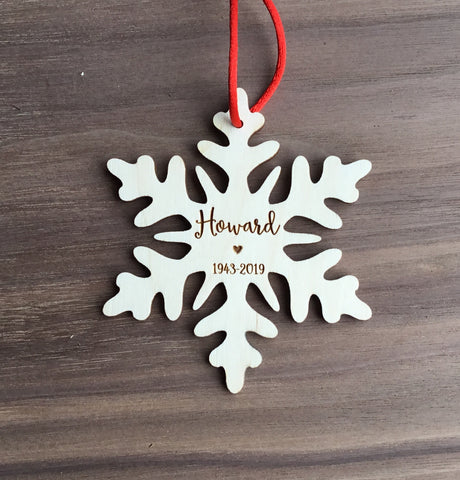 Personalized Memorial Wooden Snowflake Christmas Ornament