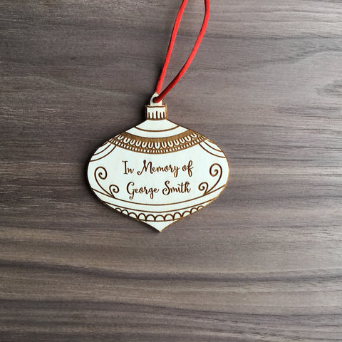In Memory Of Personalized Memorial Wooden Bauble Christmas Ornament