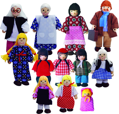 Wooden Dolls Family 12pcs