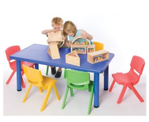 Rectangular Plastic Table and Chairs Set